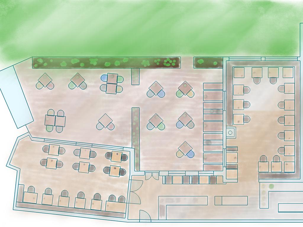 freistil. Feiern. Lageplan der Räumlichkeiten: freistil. oben & unten, Bar, Küche und Sonnenterrasse